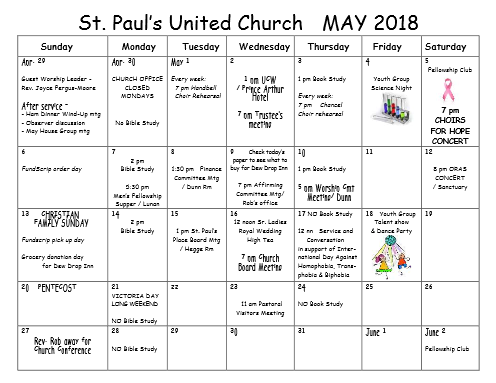 happenings at St. Paul's UC